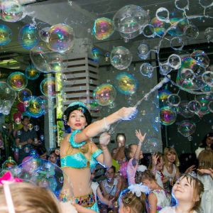 Party Characters and Bubble Show