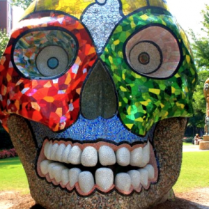 Skull sculpture in uptown Charlotte